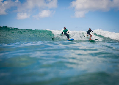 SUP at Polzeath beach with instruction and equipment from Wavehuntes