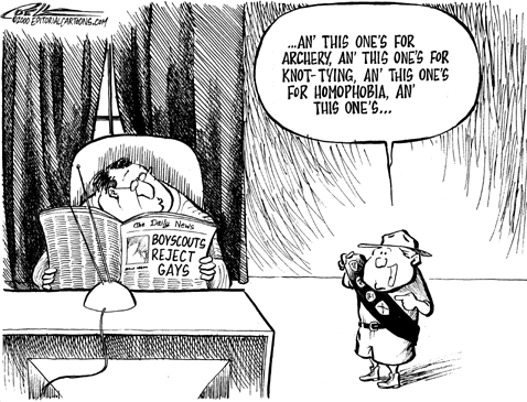 Scouts America Discrimination Gays Homophobia Cartoon Anti Gay Homosexual