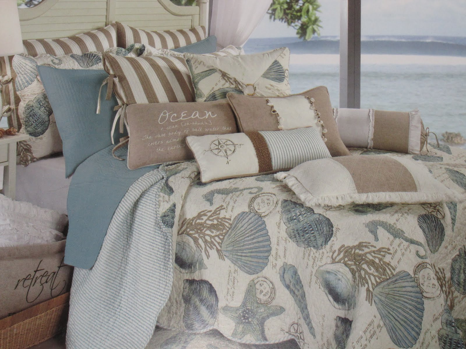 bedding beachy life bed beach cottage design tips seashell coastal blue home enjoyable bedspreads your for ideas