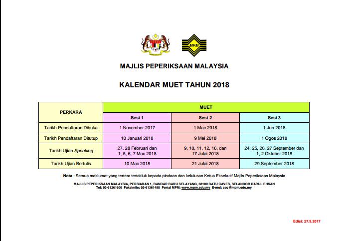 Kalender MUET EXAM 2018