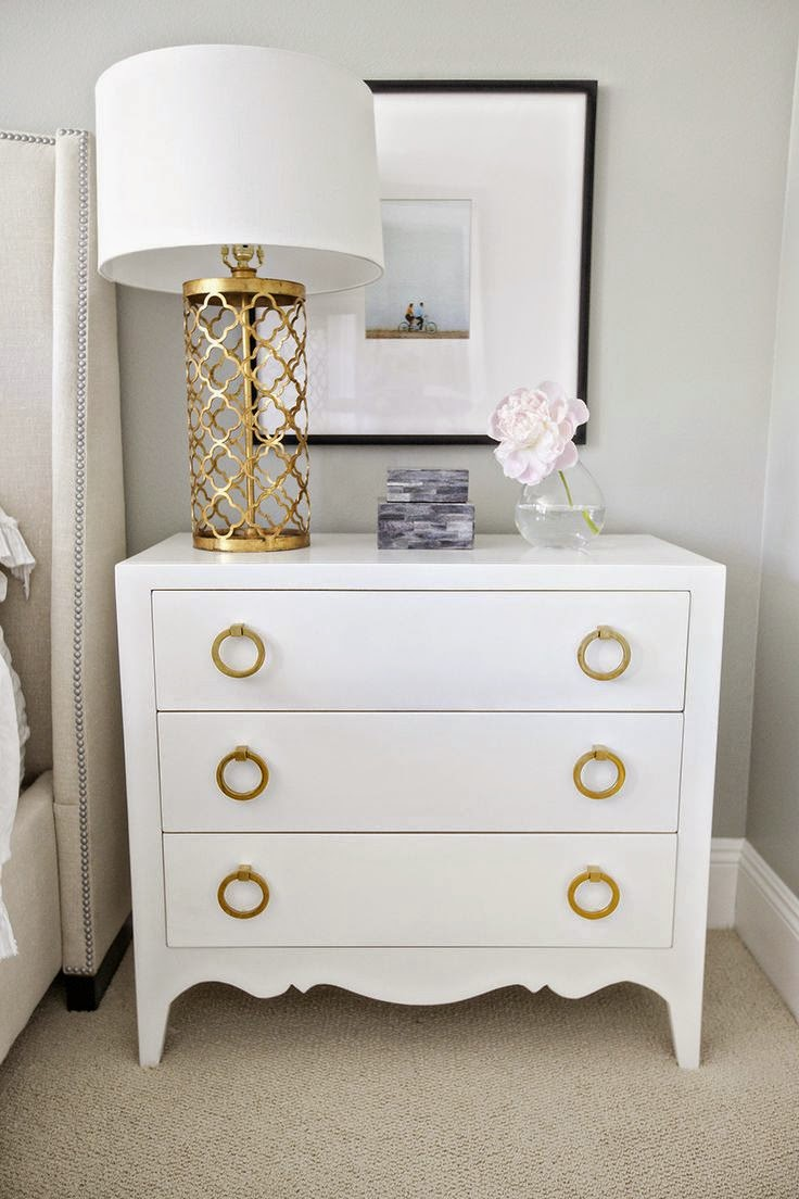 white master bedroom gold accents beige neutral furniture