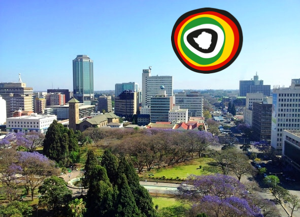 Union Square, Harare, and colourful jacaranda trees