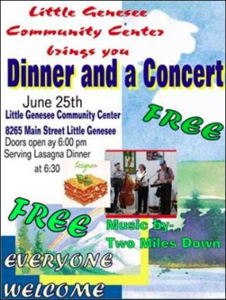 6-25 Free Dinner & Concert, Little Genesee, NY