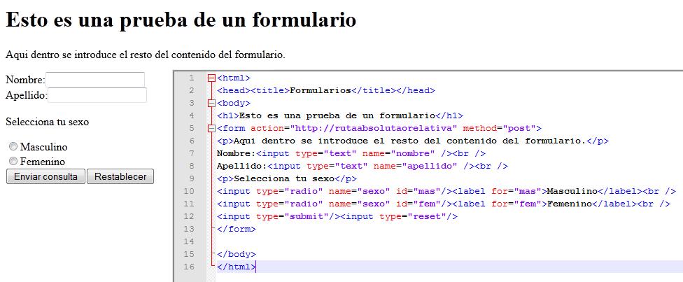 Imagen de una prueba de formulario en html