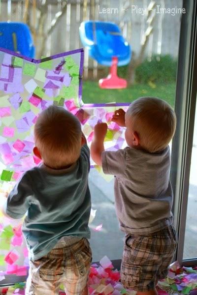 Toddler friendly cross suncatcher - Easter craft for kids