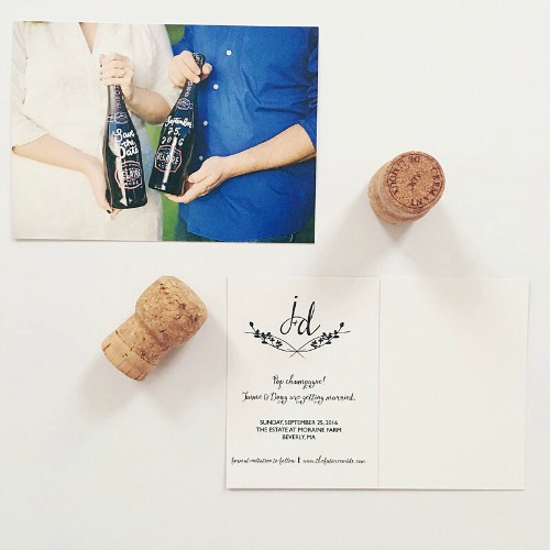 Wine bottle calligraphy save the date