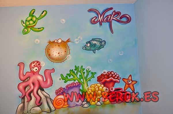 Graffiti decorativo infantil de fondo marino