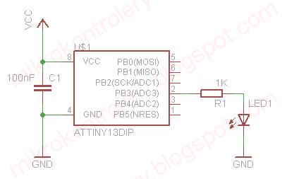 ATtiny13 - Schemat układu używanego w przykładzie.