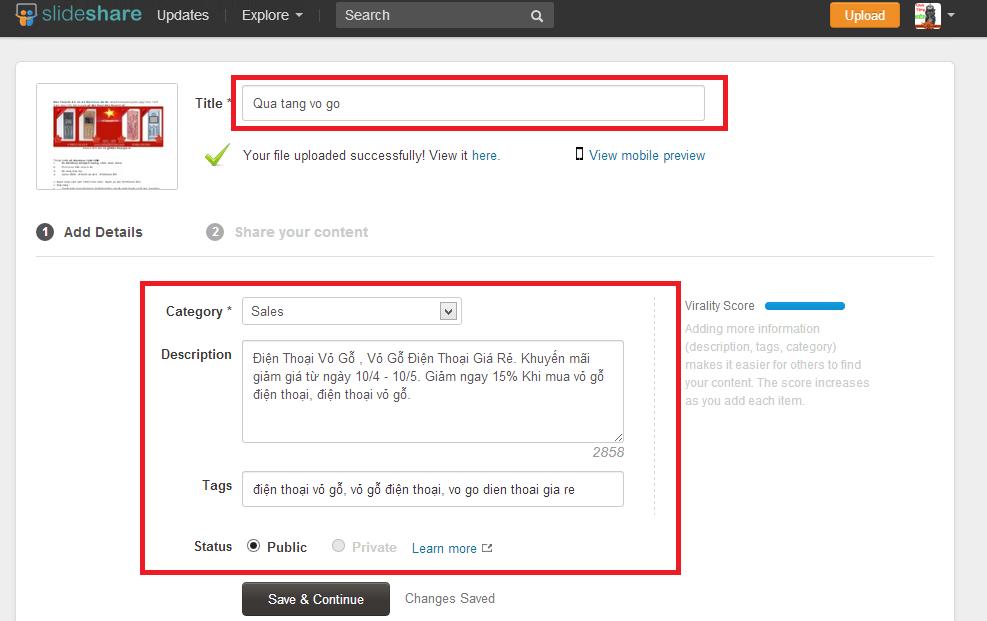 Hướng dẫn cách chèn link url website trên Slideshare.net.