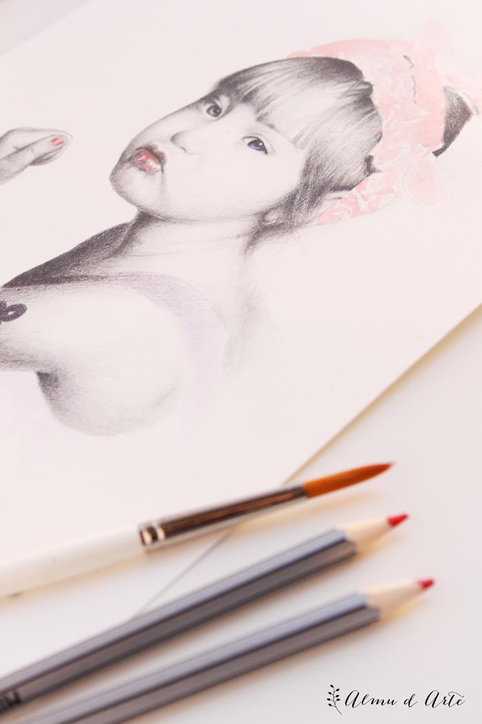Dibujo realista con lápiz y acuarela