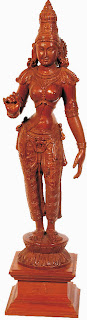 Parvati, princess of the mountains; South Indian wood carving.