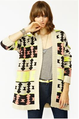 Azteca Knit Cardigan Neon