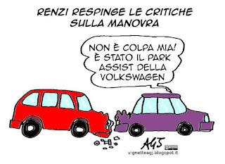 renzi, manovra, legge di stabilità, volkswagen, vignetta satira