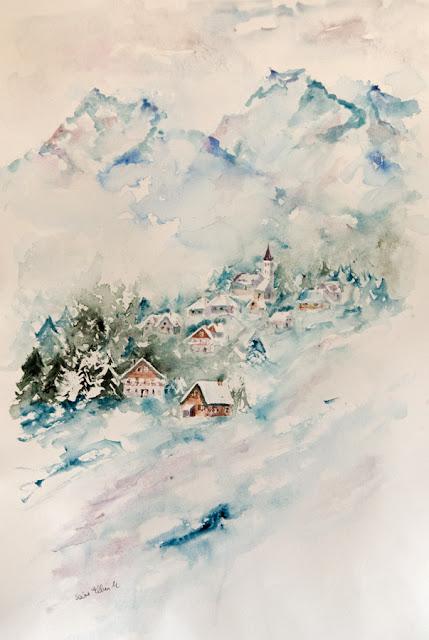 aquarelle de paysage de montagne en hiver