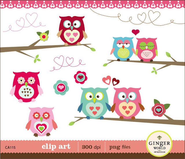 corujas clip art - papelaria
