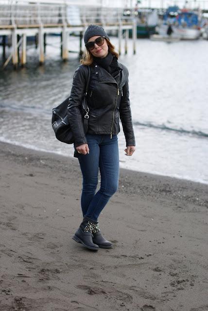 Elisabetta Franchy leather jacket, Zara polka dots jeans, Givenchy Pandora bag