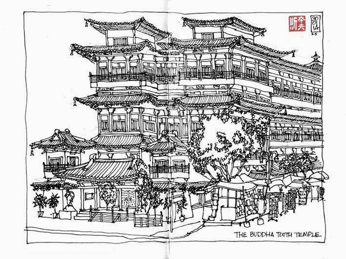 Buddha Tooth Temple sketch