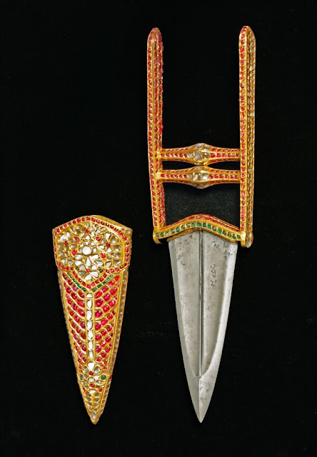 Indian katar set with rubies, emeralds and diamonds