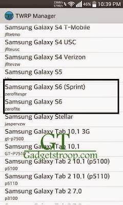 Twrp manager app galaxy s6 zeroflte and zerofltespr sprint SM-G920F SM-G9200