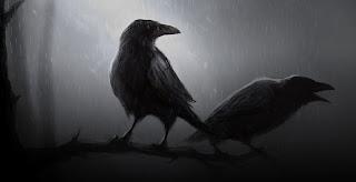 Cuervo bajo la lluvia