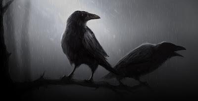 Cuervos bajo la lluvia y en la oscuridad