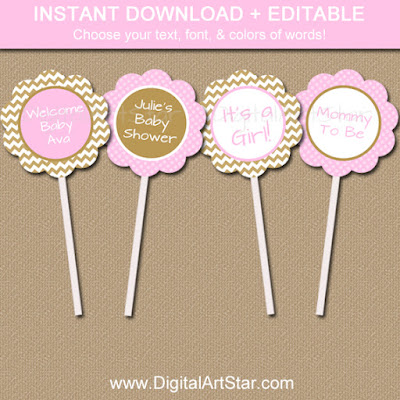 Baby Shower cupcake toppers in pink & gold