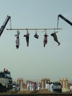 Five Yemeni beheaded in Jizan, Saudi Arabia, in May 2013 for killing a national and committing robberies. The headless bodies of the five men were then displayed in public.