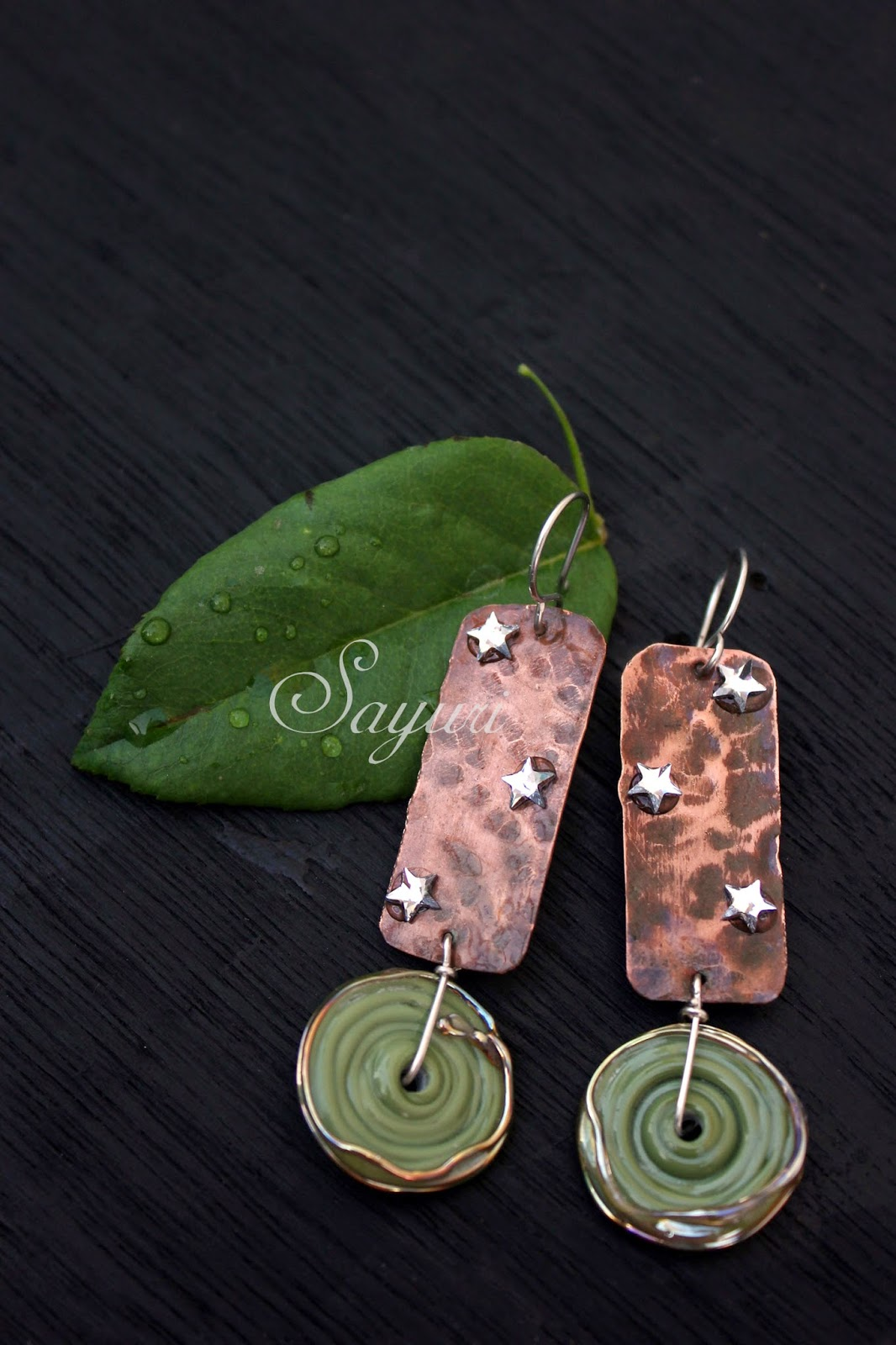 copper and swarovski earrings