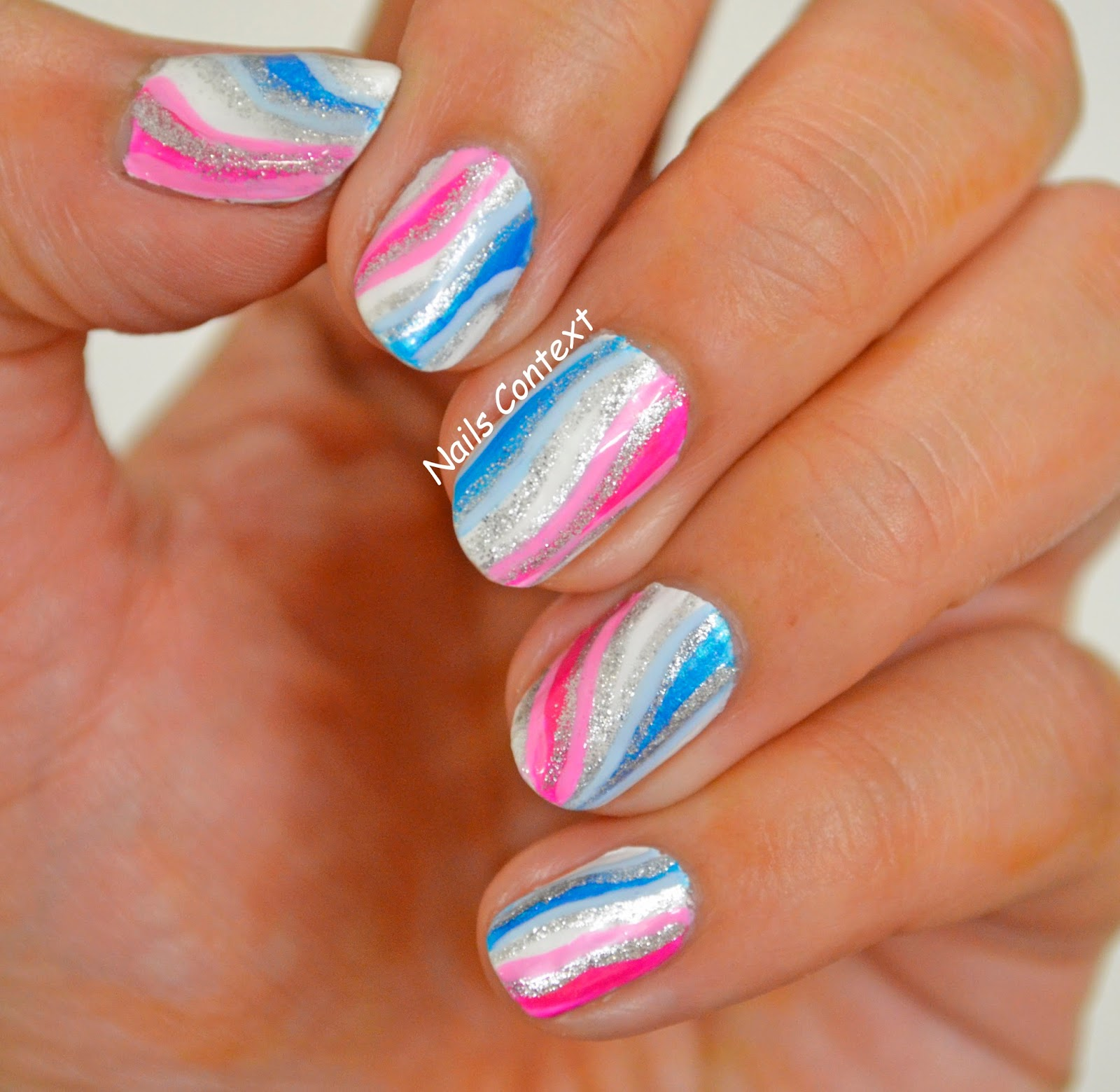 Nails Context: Pink and Blue Waves