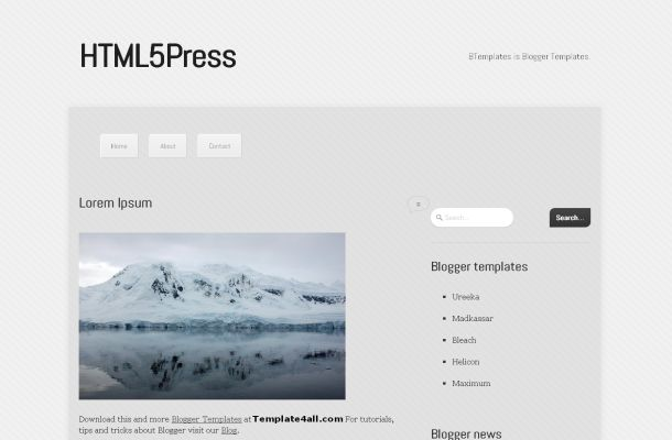 HTML5 News Blog Free Blogger Theme Template