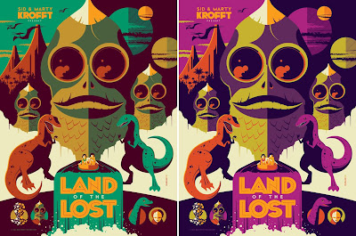 San Diego Comic-Con 2012 Exclusive Land of the Lost Screen Prints by Tom Whalen - Green Regular Edition & Purple Variant Edition