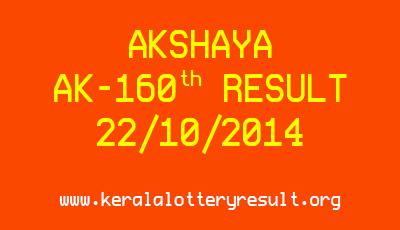Akshaya Lottery AK-160 Lottery Result 22-10-2014