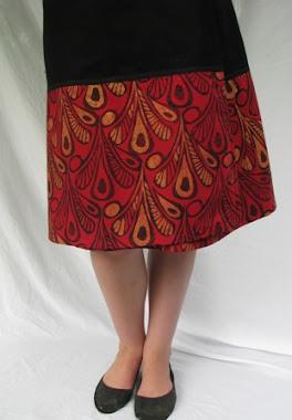 wrap skirt - red peacocks