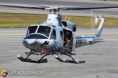 Helicóptero BELL B-412 de la Aviación Naval de la Armada Nacional de Colombia.