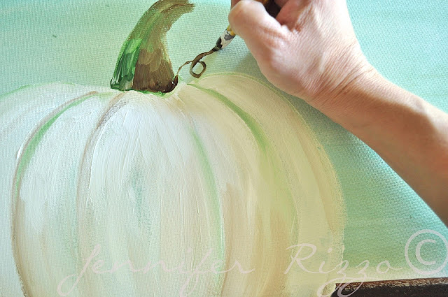How to paint a pumpkin canvas, art skills not required!!!adding curly-ques