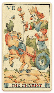 The Chariot card - Colored illustration - In the spirit of the Marseille tarot - major arcana - design and illustration by Cesare Asaro - Curio & Co. (Curio and Co. OG - www.curioandco.com)