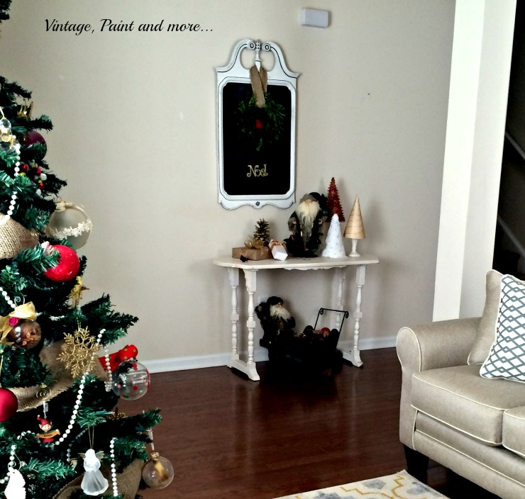 Vintage, Paint and more... diy chalkboard from mirror and French sewing table used in Christmas decor with vintage santas and cone trees