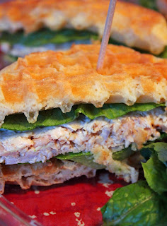 Caesar Chicken Salad Waffle Sandwiches from Jo & Sue