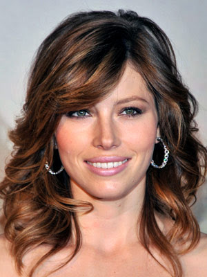 Jessica Biel long feathered hairstyles