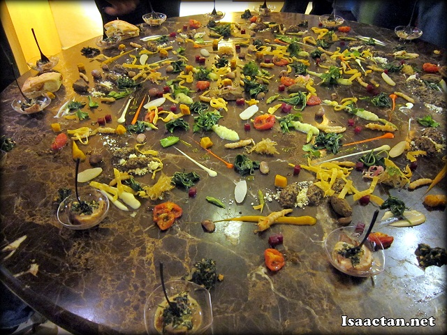 The rather unique way of presenting the lamb loin and Gargouillou of young vegetables, on the table top