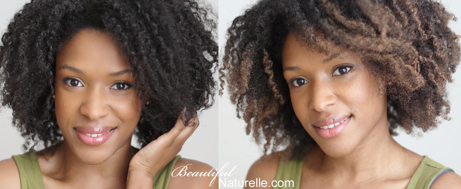 avant et aprs application de la coloration phmre beach bronze de loral sur cheveux boucls crpus - Coloration Naturelle Cheveux Crpus