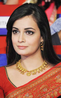 Diya Mirza in red saree