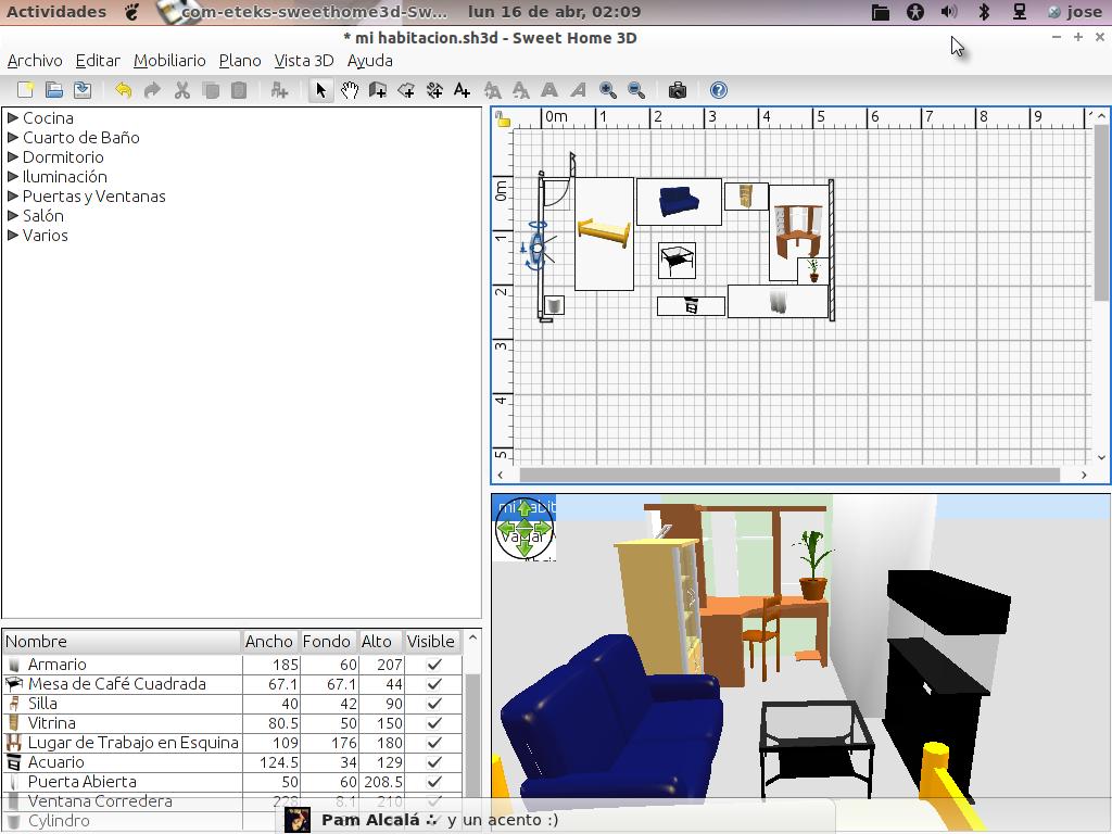 Piensa ubuntu dise o de interiores con sweet home 3d en for Software diseno interiores