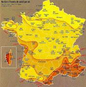 Carte de L'ensoleillement en France carte ensoleillement france