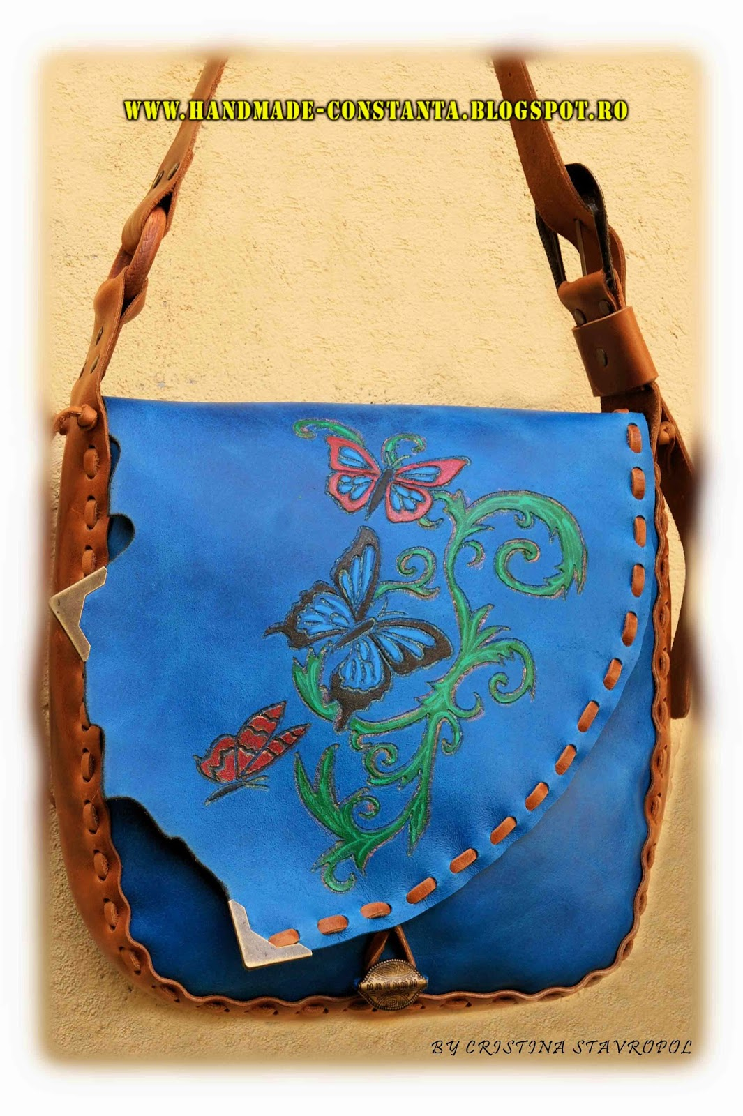 bag leather brown - blue