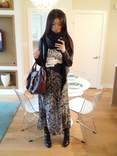 Fendi spy purse, fendi buckle belts black and white, forever 21 maxi skirt, forever21 shirt, danier leather jacket, outfit, style, fashion, marc jacobs scarf