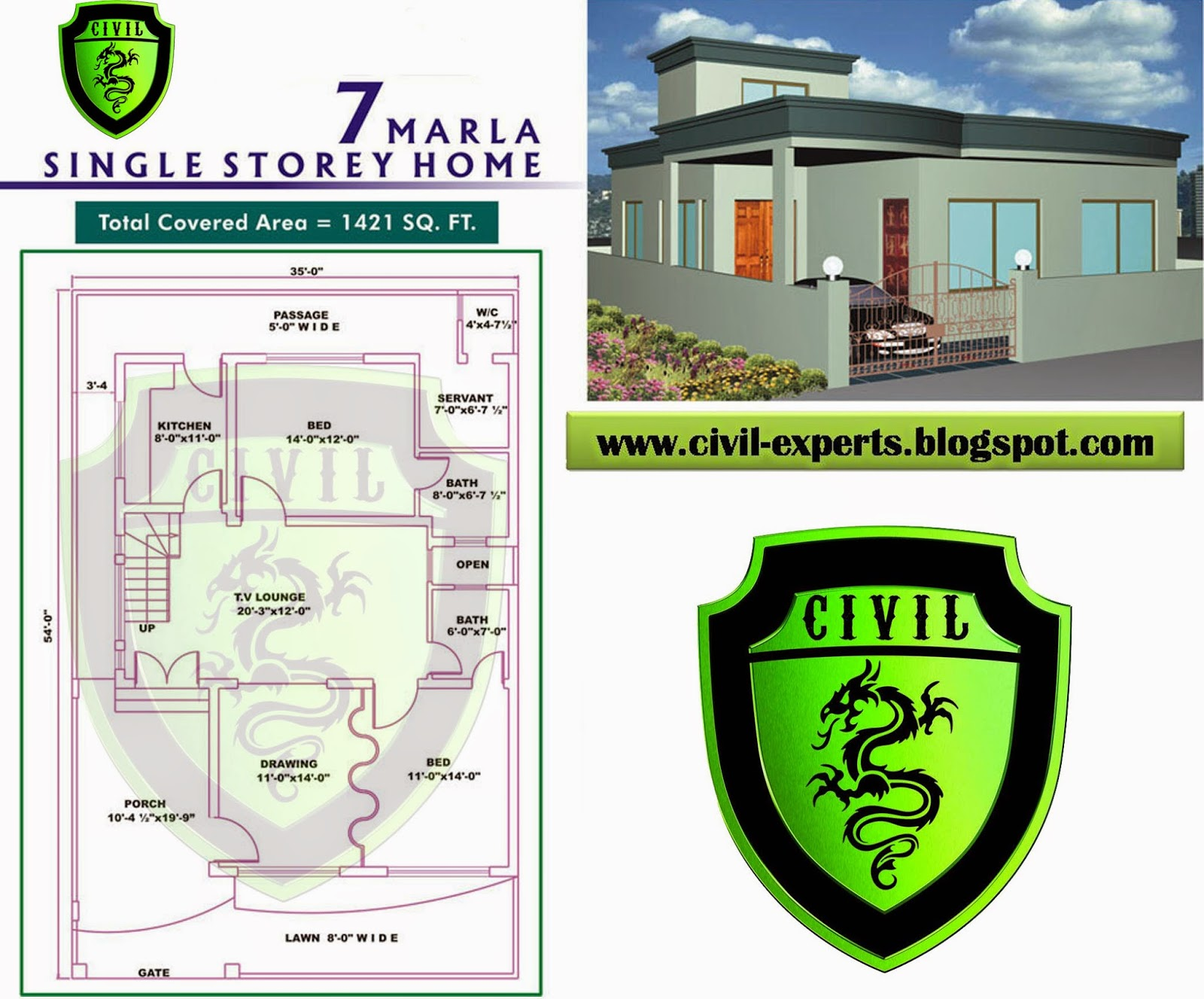 Civil Experts: 7 Marla House Plans on