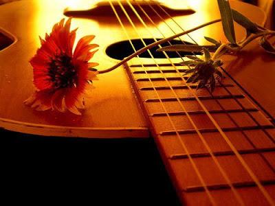 Foto de guitarra y flor