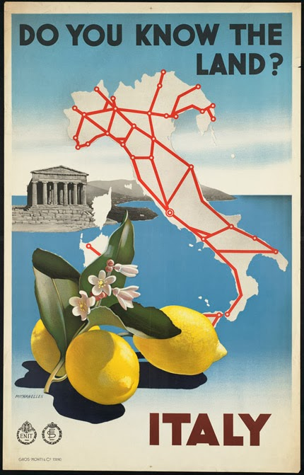 classic posters, free download, free printable, graphic design, printables, retro prints, travel, travel posters, vintage, vintage posters, vintage printables, Do You Know the Land? Italy - Vintage Italy Travel Poster