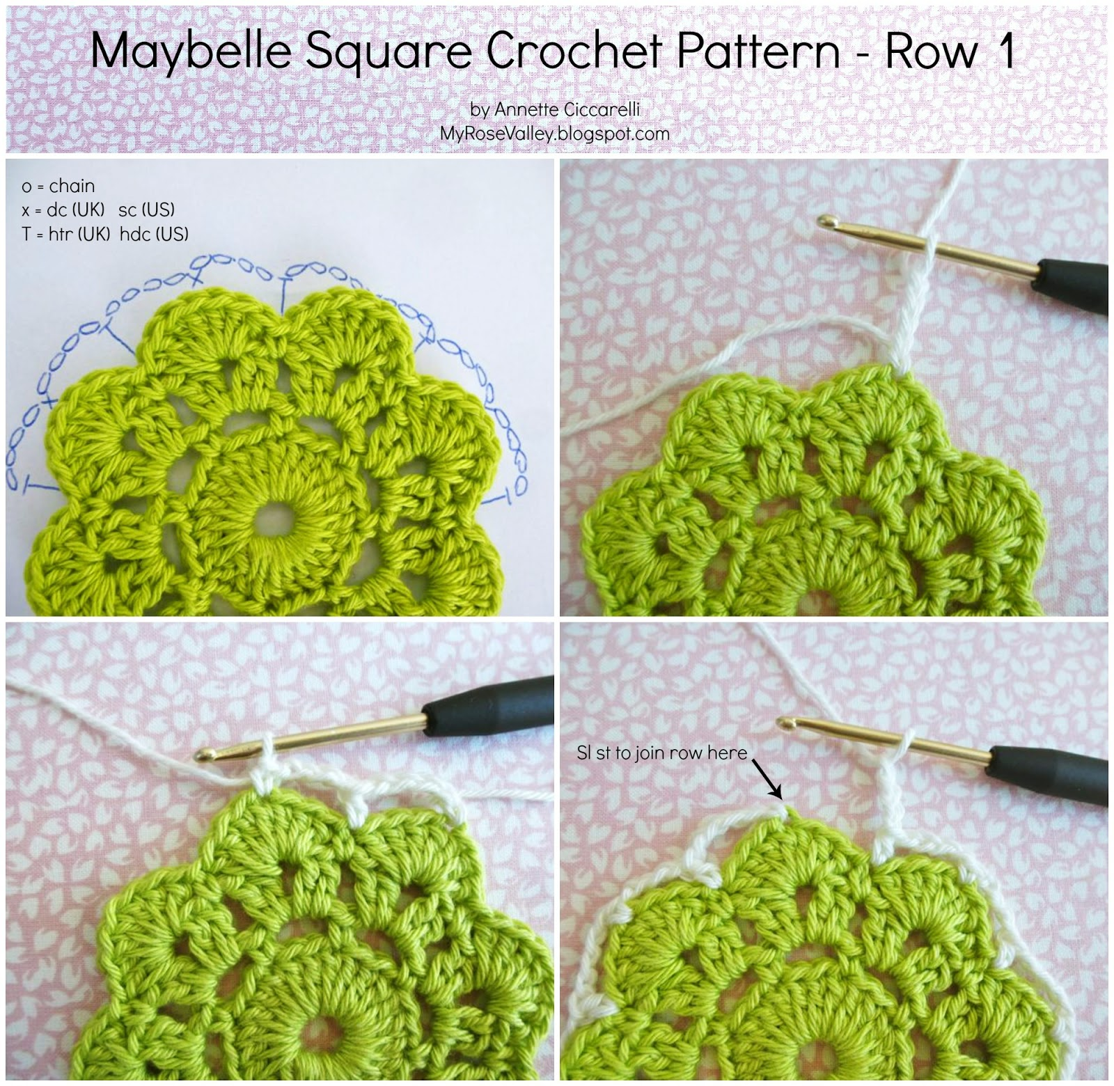 Crochet Stitches Joining Yarn : My Rose Valley: Maybelle Square Crochet Pattern